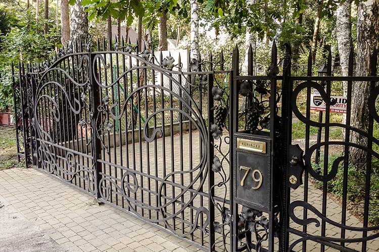 Forged entry gate with a fence - Podkowa Leśna
